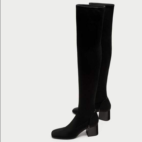 Nwt Zara Fabric Over The Knee High Heel